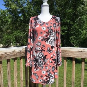 Butterfly and Flower Bell Sleeve Dress